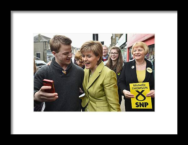 Democracy Framed Print featuring the photograph SNP Leader Nicola Sturgeon Unveils An Anti-Austerity Plan To Boost the NHS by Jeff J Mitchell