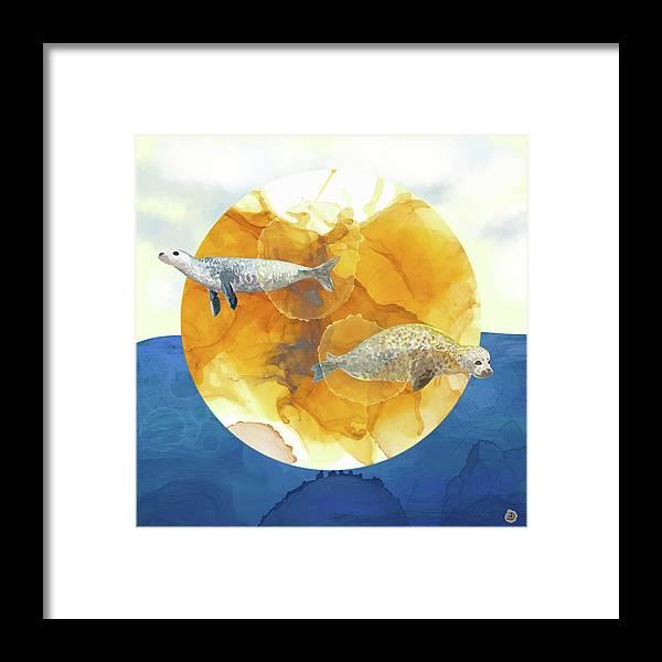 Seal Framed Print featuring the digital art Solar Seals - A Midsummer Night's Surreal Dream by Andreea Dumez