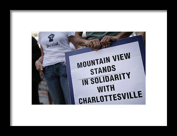 California Framed Print featuring the photograph Solidarity With Charlottesville Rallies Are Held Across The Country, In Wake Of Death After Alt Right Rally Last Week by Elijah Nouvelage