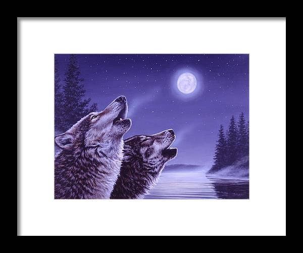 Wolf Framed Print featuring the painting Song of the North by Richard De Wolfe