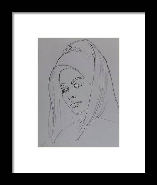 Woman Framed Print featuring the drawing Sophia Loren In Headdress by Sean Connolly