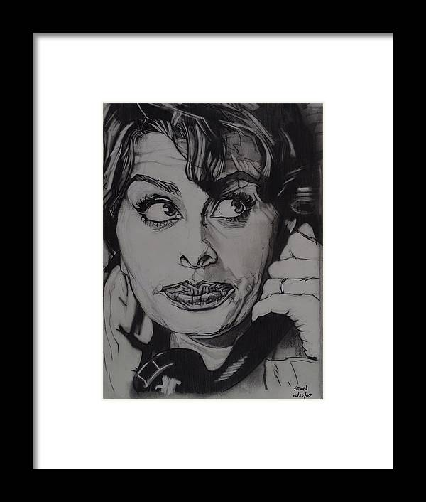 Charcoal On Paper Framed Print featuring the drawing Sophia Loren Telephones by Sean Connolly