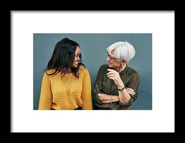 Expertise Framed Print featuring the photograph Spill the beans already by PeopleImages