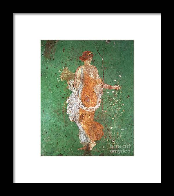 Spring Framed Print featuring the painting Spring, maiden gathering flowers, from the villa of Varano in Stabiae by Roman School