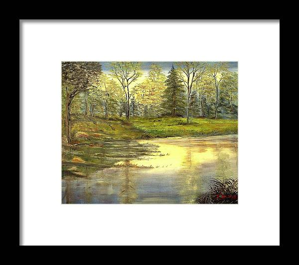 Landscape Trees Lake Reflections Framed Print featuring the painting Spring Time by Kenneth LePoidevin