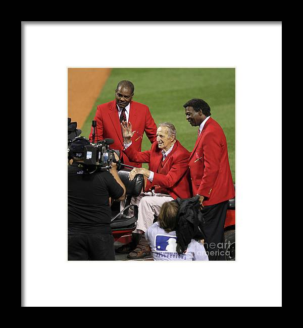 National League Baseball Framed Print featuring the photograph Stan Musial, Bob Gibson, and Lou Brock by Jamie Squire
