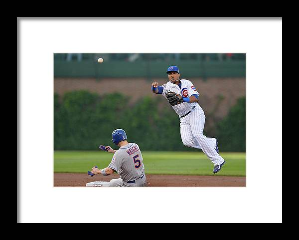 Double Play Framed Print featuring the photograph Starlin Castro, Curtis Granderson, and David Wright by Brian Kersey