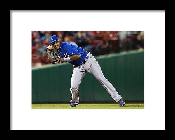 2nd Base Framed Print featuring the photograph Starlin Castro by David Welker