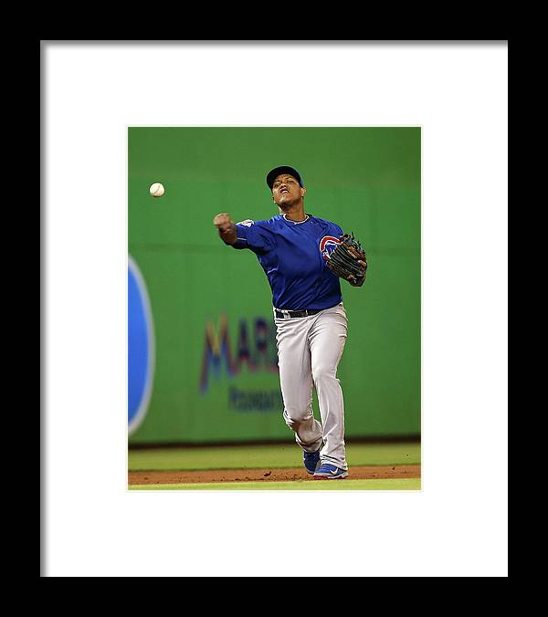 People Framed Print featuring the photograph Starlin Castro by Mike Ehrmann