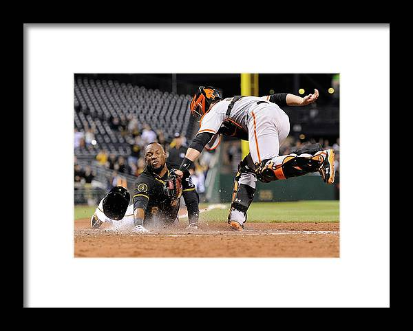 Ninth Inning Framed Print featuring the photograph Starling Marte and Buster Posey by Joe Sargent
