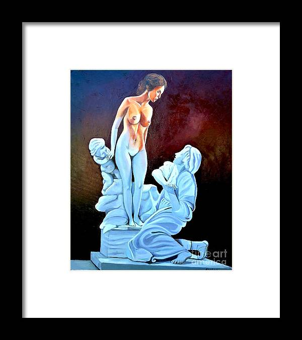 Women Framed Print featuring the painting Statue 2 by Jose Manuel Abraham