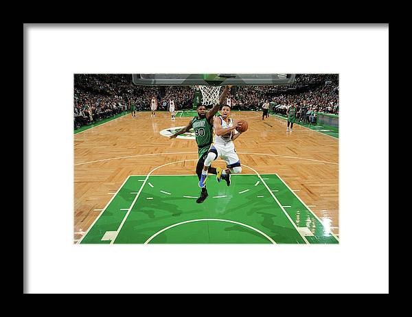 Nba Pro Basketball Framed Print featuring the photograph Stephen Curry and Gerald Green by Brian Babineau