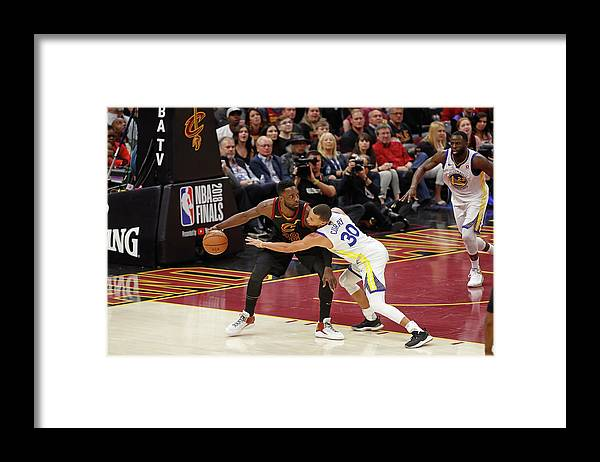 Playoffs Framed Print featuring the photograph Stephen Curry and Jeff Green by Mark Blinch