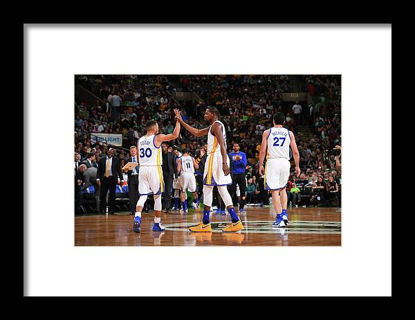 Nba Pro Basketball Framed Print featuring the photograph Stephen Curry and Kevin Durant by Brian Babineau