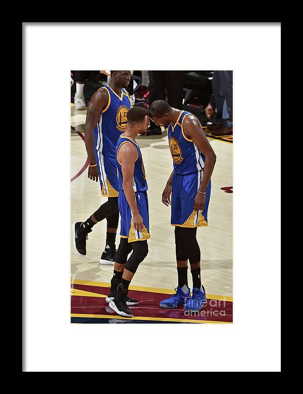 Playoffs Framed Print featuring the photograph Stephen Curry and Kevin Durant by David Liam Kyle