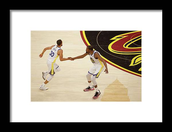 Playoffs Framed Print featuring the photograph Stephen Curry and Kevin Durant by Mark Blinch