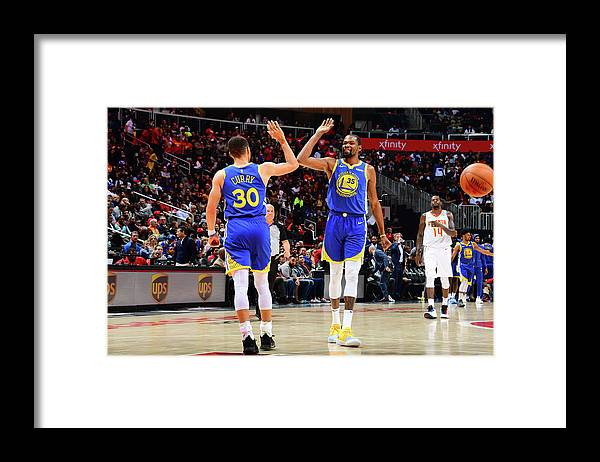 Atlanta Framed Print featuring the photograph Stephen Curry and Kevin Durant by Scott Cunningham