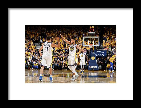 Playoffs Framed Print featuring the photograph Stephen Curry and Klay Thompson by Garrett Ellwood