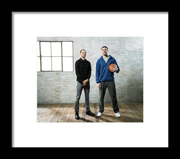 Nba Pro Basketball Framed Print featuring the photograph Stephen Curry and Klay Thompson by Nathaniel S. Butler