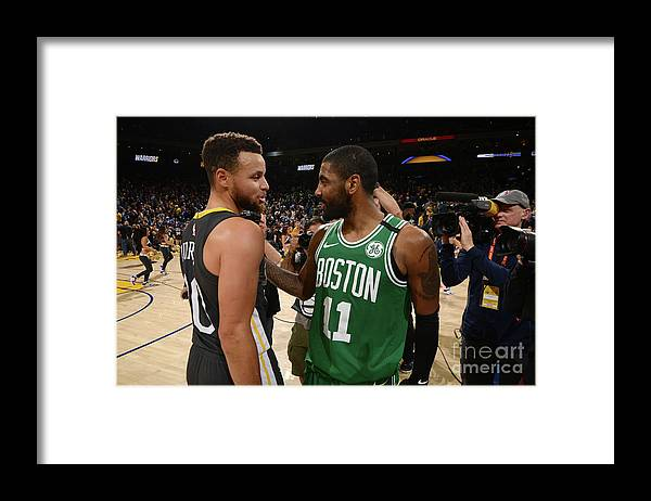 Nba Pro Basketball Framed Print featuring the photograph Stephen Curry and Kyrie Irving by Noah Graham