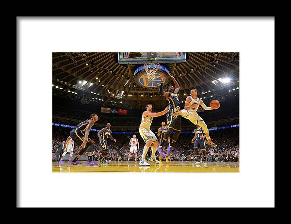 Nba Pro Basketball Framed Print featuring the photograph Stephen Curry and Roy Hibbert by Rocky Widner