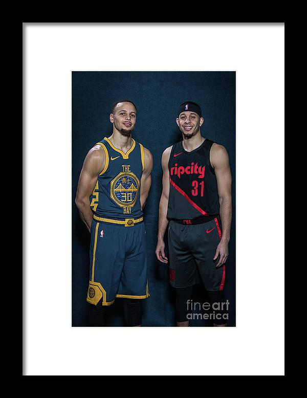 Nba Pro Basketball Framed Print featuring the photograph Stephen Curry and Seth Curry by Michael J. Lebrecht Ii