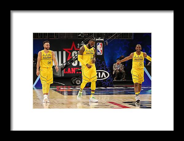 Atlanta Framed Print featuring the photograph Stephen Curry, Chris Paul, and Lebron James by Joe Murphy