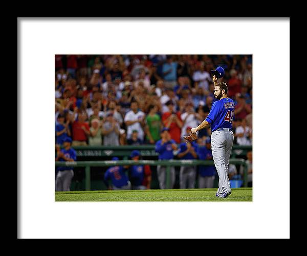 American League Baseball Framed Print featuring the photograph Stephen Drew and Jake Arrieta by Jared Wickerham