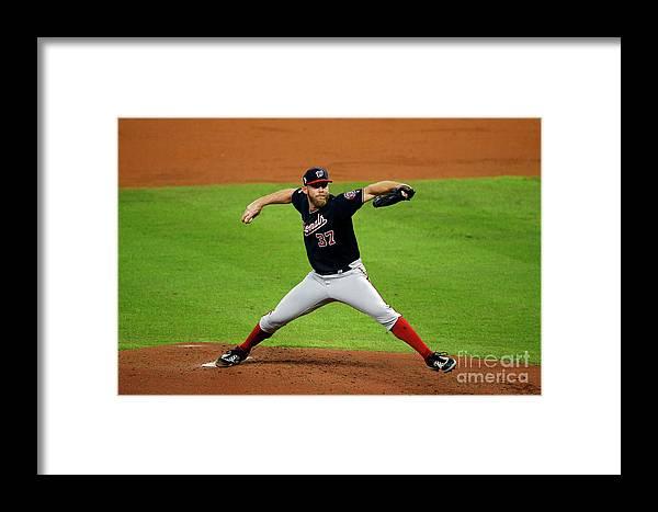 American League Baseball Framed Print featuring the photograph Stephen Strasburg by Bob Levey
