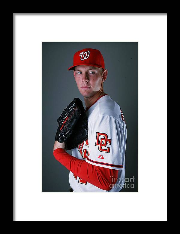Media Day Framed Print featuring the photograph Stephen Strasburg by Doug Benc