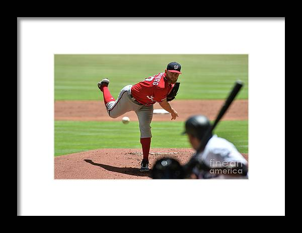 People Framed Print featuring the photograph Stephen Strasburg by Eric Espada