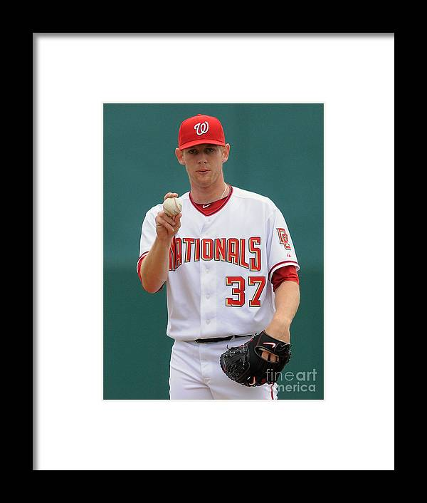 American League Baseball Framed Print featuring the photograph Stephen Strasburg by Mark Cunningham