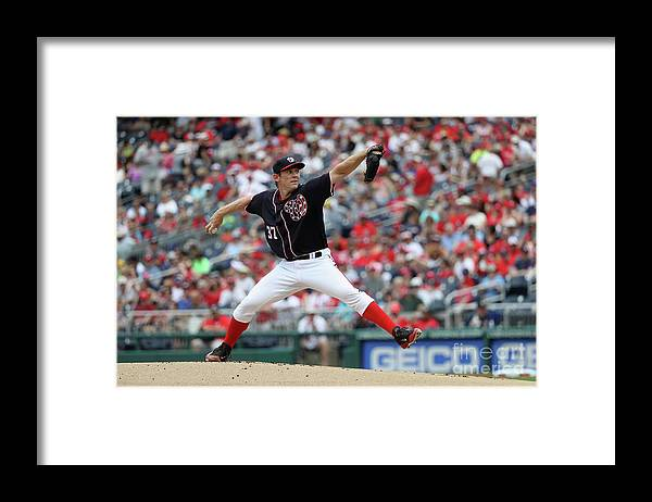 People Framed Print featuring the photograph Stephen Strasburg by Rob Carr