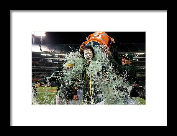 Three Quarter Length Framed Print featuring the photograph Stephen Vogt, Josh Reddick, and Billy Butler by Jason O. Watson