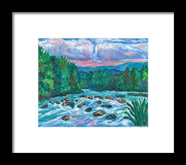 Landscape Framed Print featuring the painting Stepping Stones on the New River by Kendall Kessler