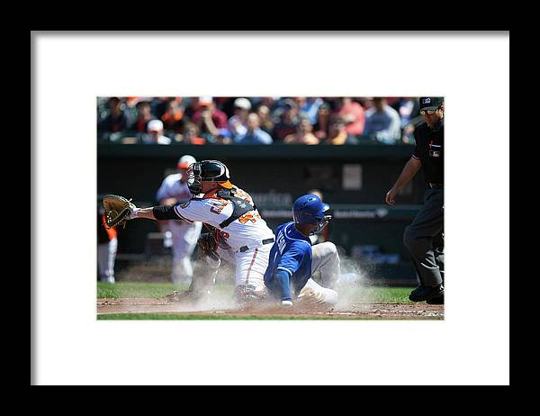 American League Baseball Framed Print featuring the photograph Steve Clevenger and Jarrod Dyson by Rob Tringali