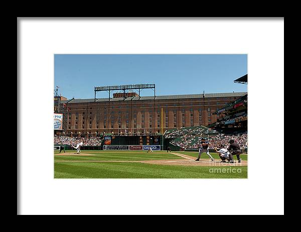 American League Baseball Framed Print featuring the photograph Steve Trachsel and Grady Sizemore by Greg Fiume