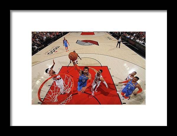 Playoffs Framed Print featuring the photograph Steven Adams and Enes Kanter by Cameron Browne
