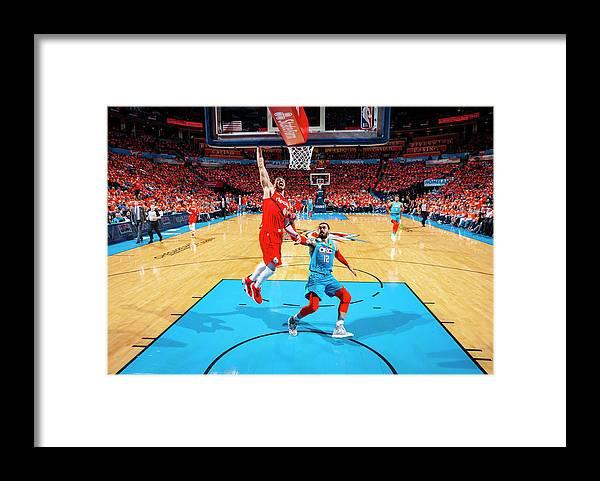 Playoffs Framed Print featuring the photograph Steven Adams and Enes Kanter by Zach Beeker