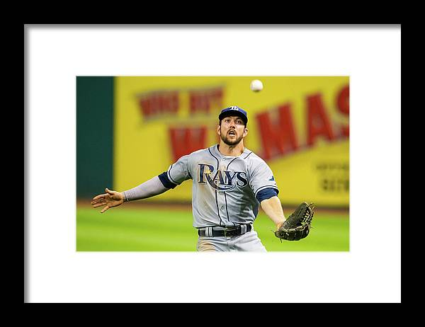 Three Quarter Length Framed Print featuring the photograph Steven Souza and Francisco Lindor by Jason Miller