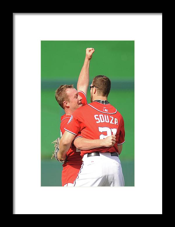 Celebration Framed Print featuring the photograph Steven Souza and Jordan Zimmermann by Mitchell Layton