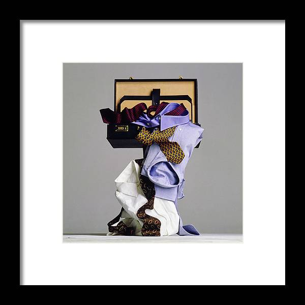 Still Life Framed Print featuring the photograph Still Life of Suitcase with Mens Clothes by Walter Chin
