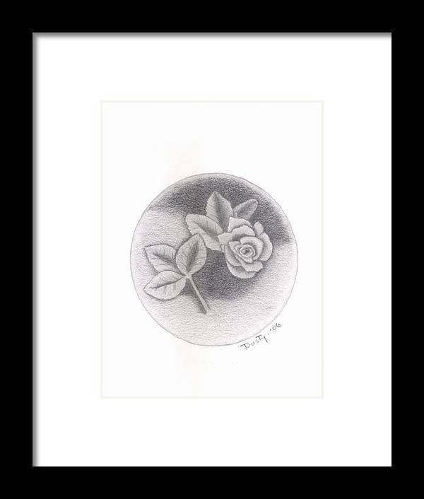 Rose Framed Print featuring the drawing Stone Rose by Dusty Reed