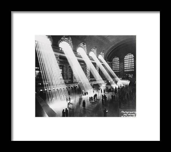 Architectural Feature Framed Print featuring the photograph Sun Beams Into Grand Central Station by Hal Morey