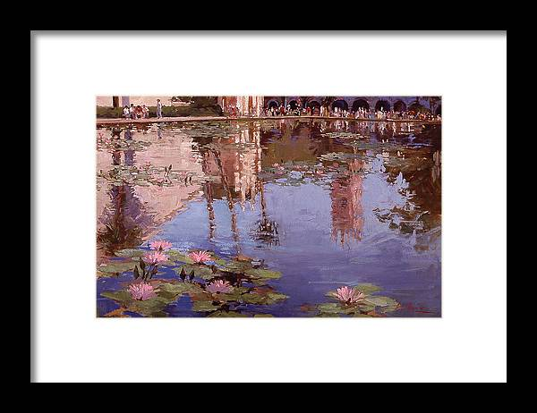Water Lily Paintings Framed Print featuring the painting Sunday Reflections - Balboa Park by Betty Jean Billups