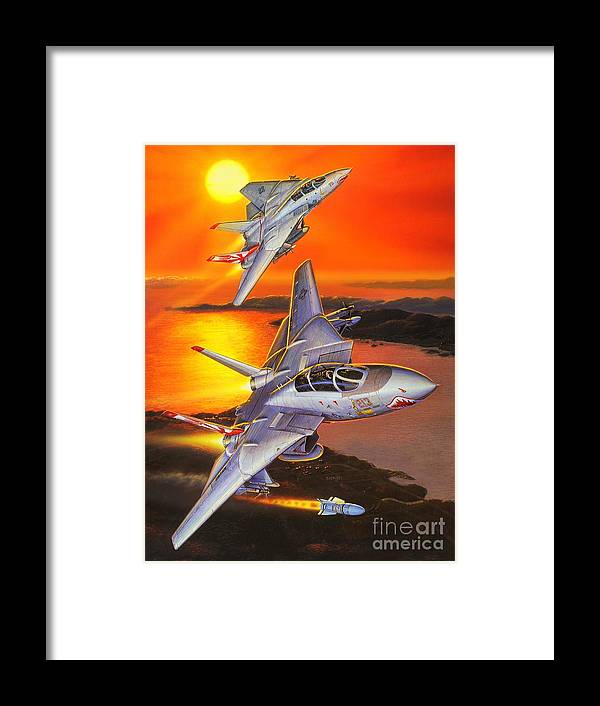 F-14 Tomcat Framed Print featuring the painting Sundowner Tomcats by Stu Shepherd