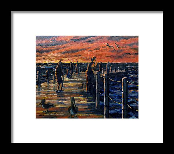 Sunrise Framed Print featuring the painting Sunrise At The Inlet by Ralph Papa