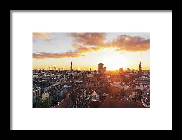 City Framed Print featuring the photograph Sunset above Copenhagen by Hannes Roeckel