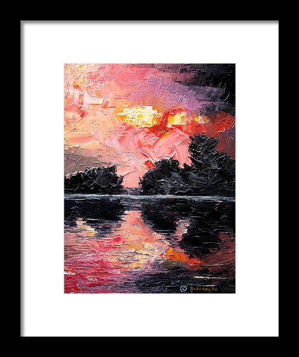Lake After Storm Framed Print featuring the painting Sunset. After storm. by Sergey Bezhinets