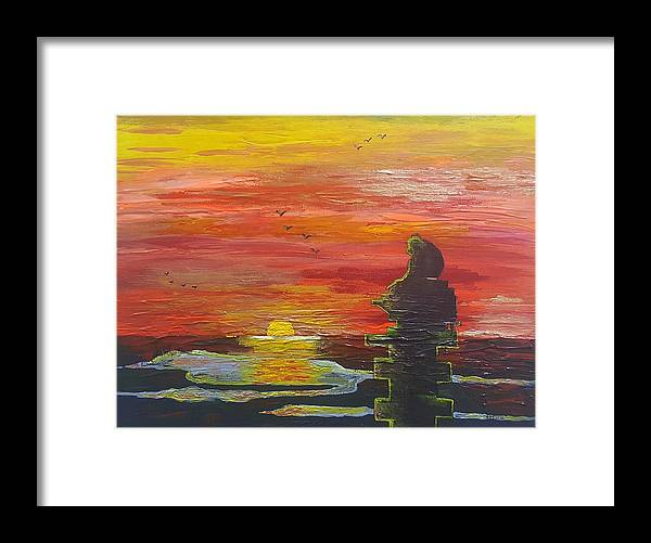 Sunset Baboon Framed Print featuring the painting Sunset Baboon by Quintus Curtius